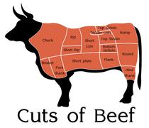 Vector beef cuts chart Stock Illustration
