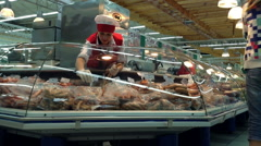 The Meat Section In The Supermarket Stock Footage