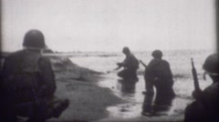World War 2 - Archival footage of Soldiers on Beach - stock footage