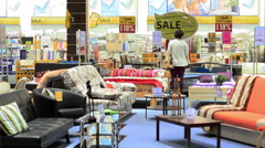 Sale Furniture Shopping Center Stock Footage