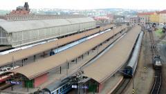 Main train station - railway yard - panorama of the city(Prague, Czech Republic) Stock Footage
