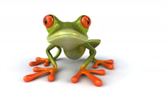 3D funny frog looking into camera Stock Footage