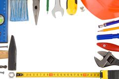 Kit of construction tools Stock Photos