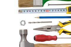 Kit of construction tools and instruments Stock Photos