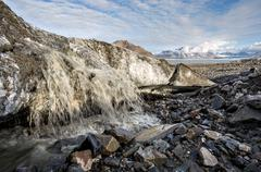 Melting glacier - Arctic landscape - stock photo