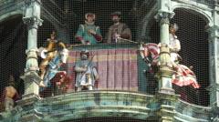 4K FHD Munich City Town Hall Rathaus Medieval Glockenspiel Bavaria Knight joust Stock Footage