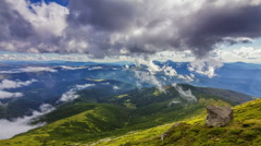 Timelapse of beautiful summer landscape in Carpathian mountains with clouds Stock Footage