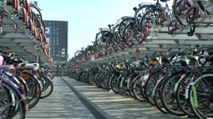 A massive bicycle parking area beside Nijmegen railway station, Netherlands. Stock Footage