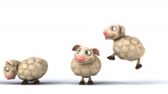3D funny sheep jumping over another one - stock footage