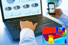 thermovision image showing heat in the office - stock photo