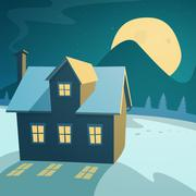 Winter Landscape with House Stock Illustration