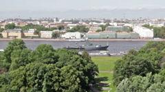 Warship on the neva river Stock Footage