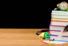 Back to school supplies isolated on black Stock Photos