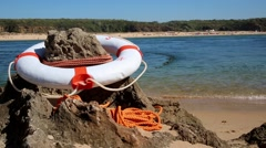 Buoy rescue with beach landscape Stock Footage