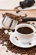 pot, cup and grinder - stock photo