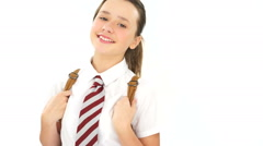 Happy carefree young school girl Stock Footage