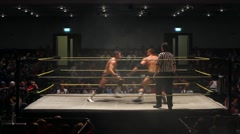 Pro Wresting Match: Clothesline - Static Shot HD Stock Footage