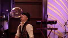 Bubble show at the festival. Stock Footage