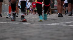 Running sport competition close up Stock Footage