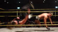 Pro Wrestling Match: Power Clothesline HD Stock Footage