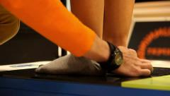 running sport testing feet for running shoes - stock footage