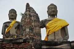 Ayutthaya Buddha Statues Stock Photos