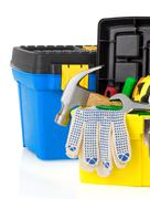 construction toolbox and tools isolated on white - stock photo