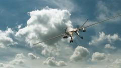 An armed reaper drone in flight on the camera  Stock Footage