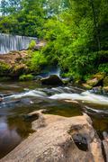 Dam and cascades on the cullasaja river, highlands, north carolina. Stock Photos