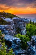 Sunrise at bear rocks preserve, in dolly  sods wilderness, monongahela nation Stock Photos