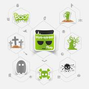 Halloween flat infographic - stock illustration