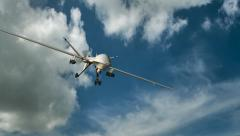 an armed reaper drone in flight on the camera - stock footage
