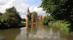 New Castle in Muskau Park. The Park is on the UNESCO World Heritage List Stock Footage