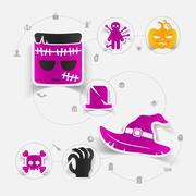 Halloween sticker concept - stock illustration