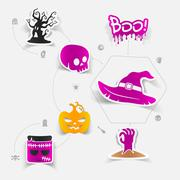 Halloween sticker concept - stock illustration