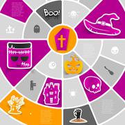 Halloween sticker infographic - stock illustration