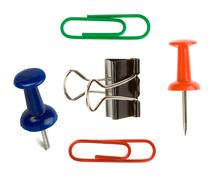 close up pushpin and paper clip on white - stock photo