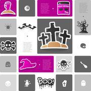 Halloween sticker infographic - stock illustration