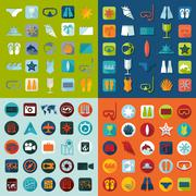 Set of summer tourism icons Stock Illustration