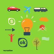 Set icons illustrating journey from idea Stock Illustration