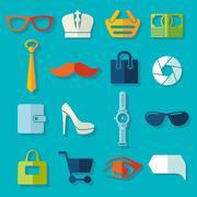 Set of fashion icons - stock illustration