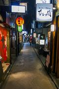 ponto-cho alley is one of the most characteristic streets in kyoto, with rest - stock photo