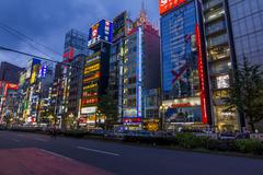 Colorful banners and neons in shinjuku district, tokyo, japan. Stock Photos