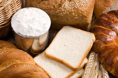 bread, spike, flour and basket - stock photo