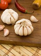 Stock Photo of set of garlic nutrition and healthy food