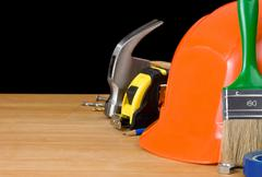 Set of tools on wood Stock Photos