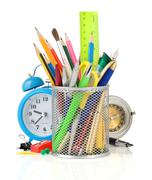 back to school concept isolated on white - stock photo