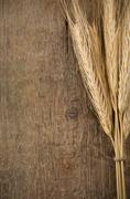 Ears spike of wheat on wood Stock Photos