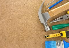 tools on wood texture - stock photo
