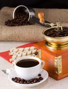 coffee beans, pot, cup and grinder on sack - stock photo